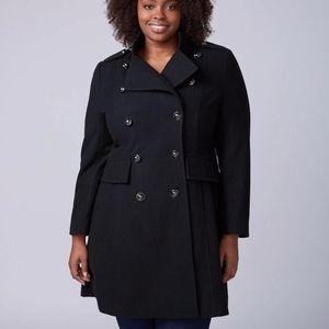 NEW lane bryant wool blend black coat w/ corset